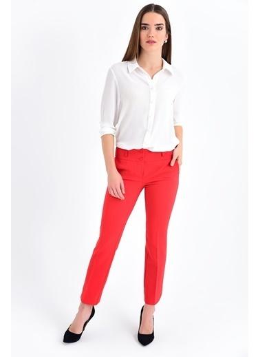 Jument Clevland Yüksek Bel Cepli Paçası Yırtmaçlı Pantolon Kırmızı